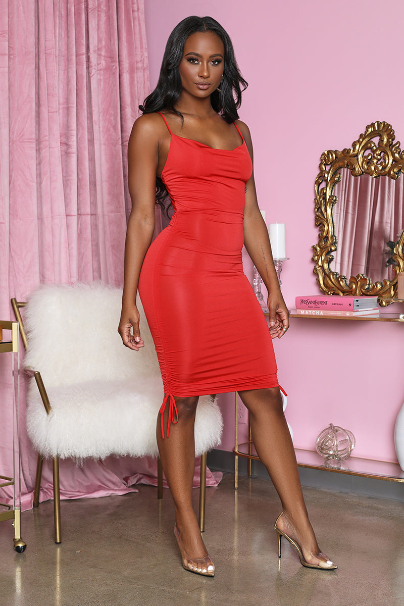 Cowl Neck Ruched Dress (Red)