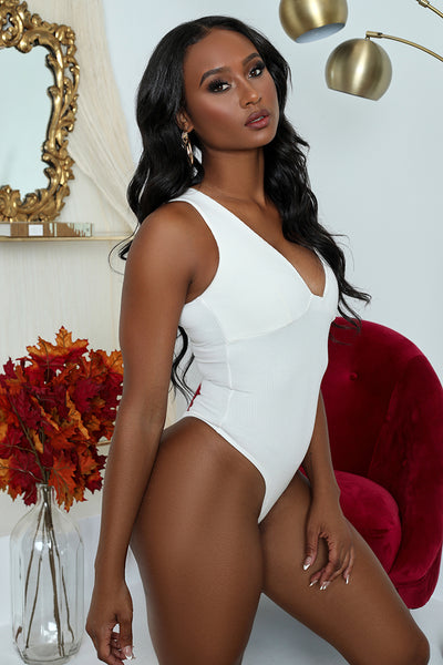 Ribbed Basic Bodysuit (White)