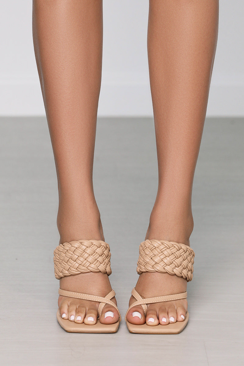 Isabella Square Toe Braided Mule (Camel)