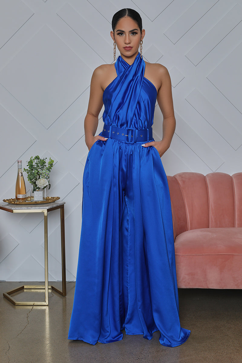 Satin Belted Halter Top Jumpsuit (Cobalt Blue)