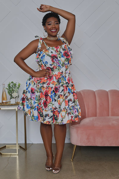 Curvy Floral Tie Strap Mini Dress- FINAL SALE
