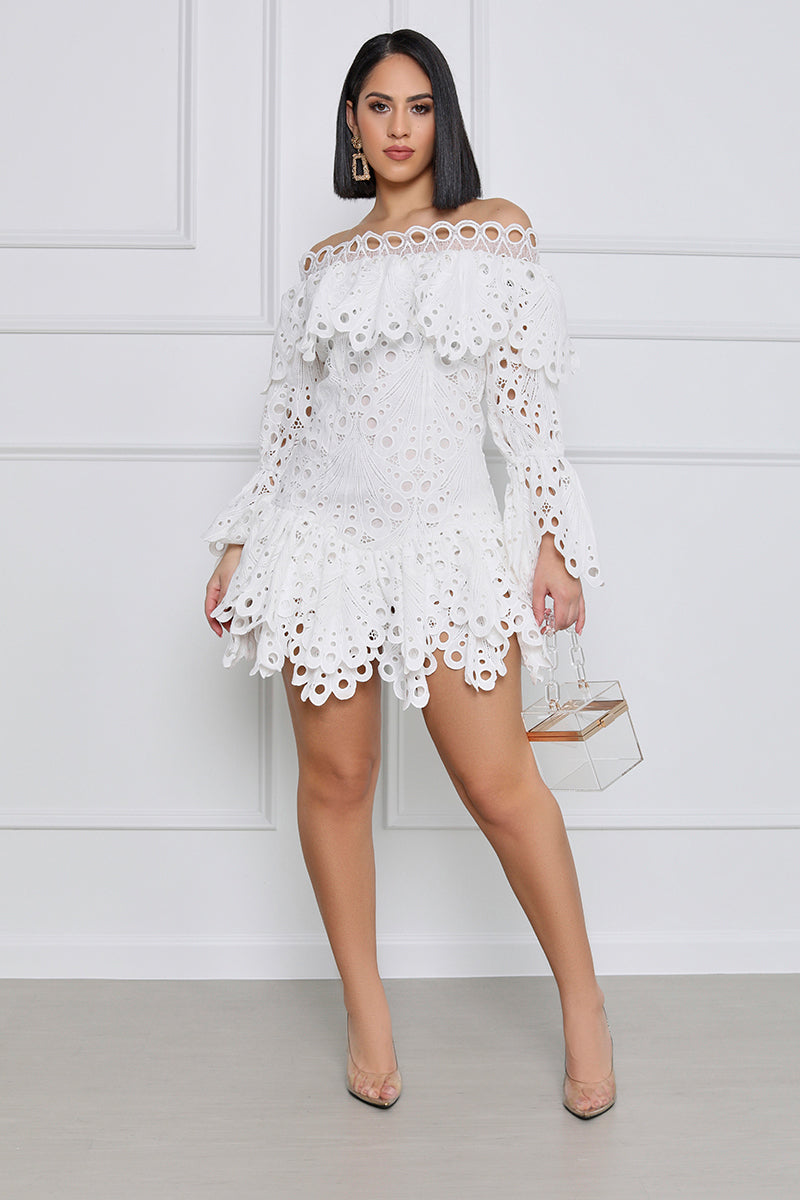 Beautiful Soul White Lace Off The Shoulder Mini Dress