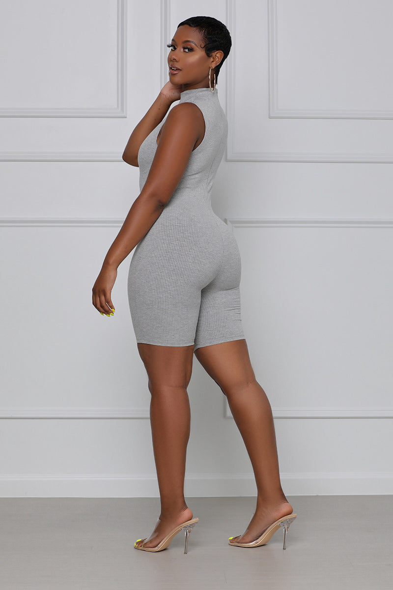 Pull Up On Me Sleeveless Ribbed Romper (Grey)