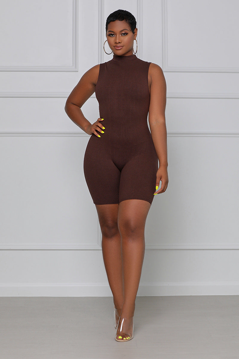 Pull Up On Me Sleeveless Ribbed Romper (Chocolate)