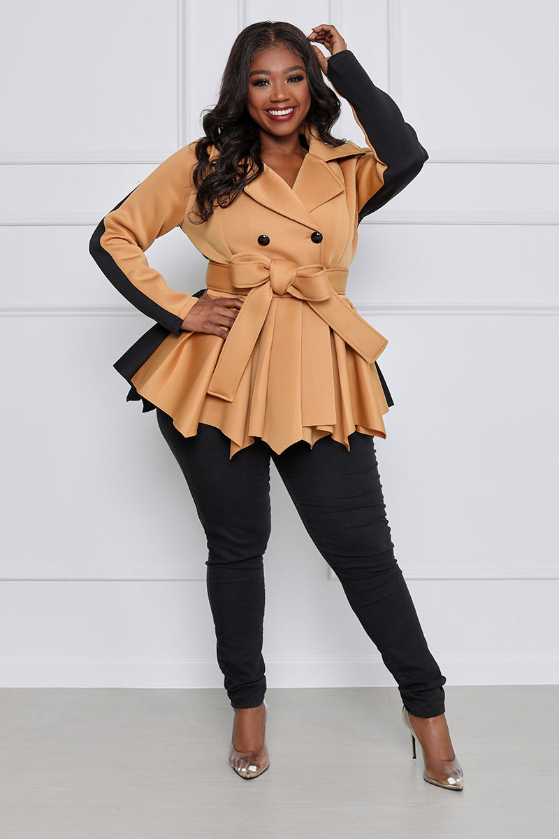 At the Office Peplum Double Breasted Blazer with Belt Curvy (Tan/Black)
