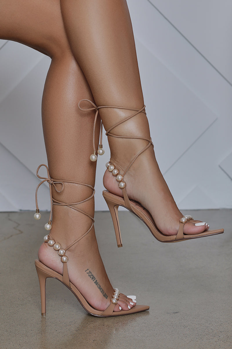 Rainey Pearl Embellished Lace Up Heel (Tan)