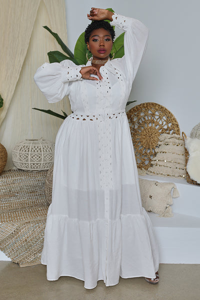 Curvy Cut Out Smocked Dress (White)