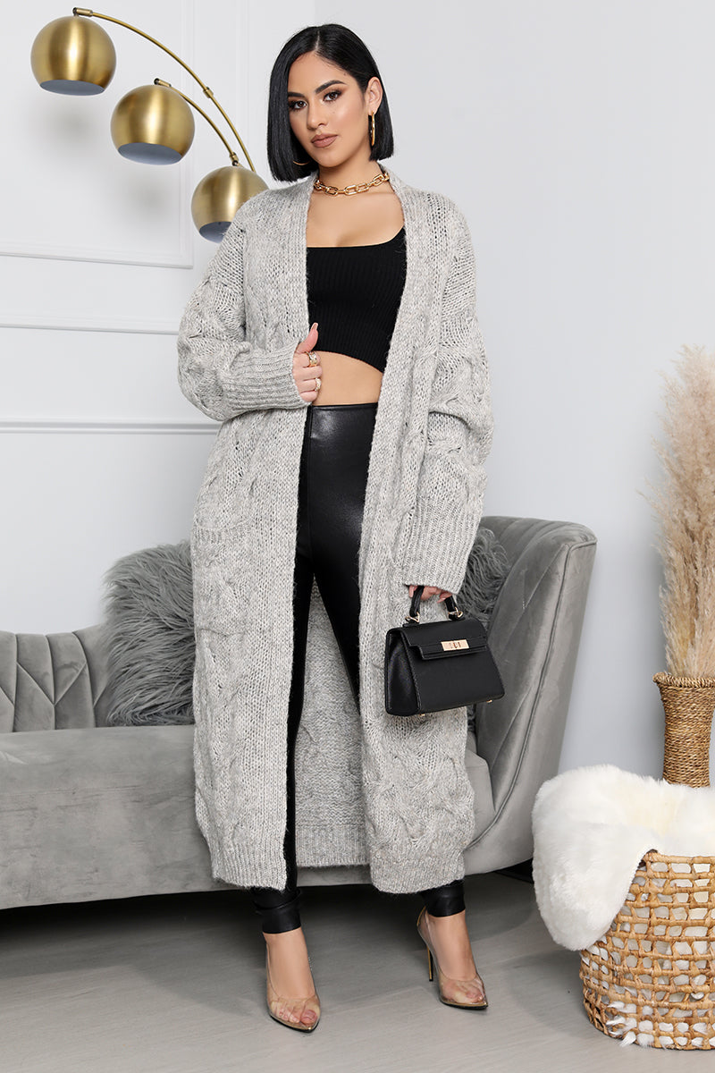 Cozy Vibes Cardigan (Grey)