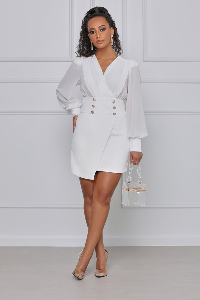 Yacht Club Long Sleeve Romper (White)