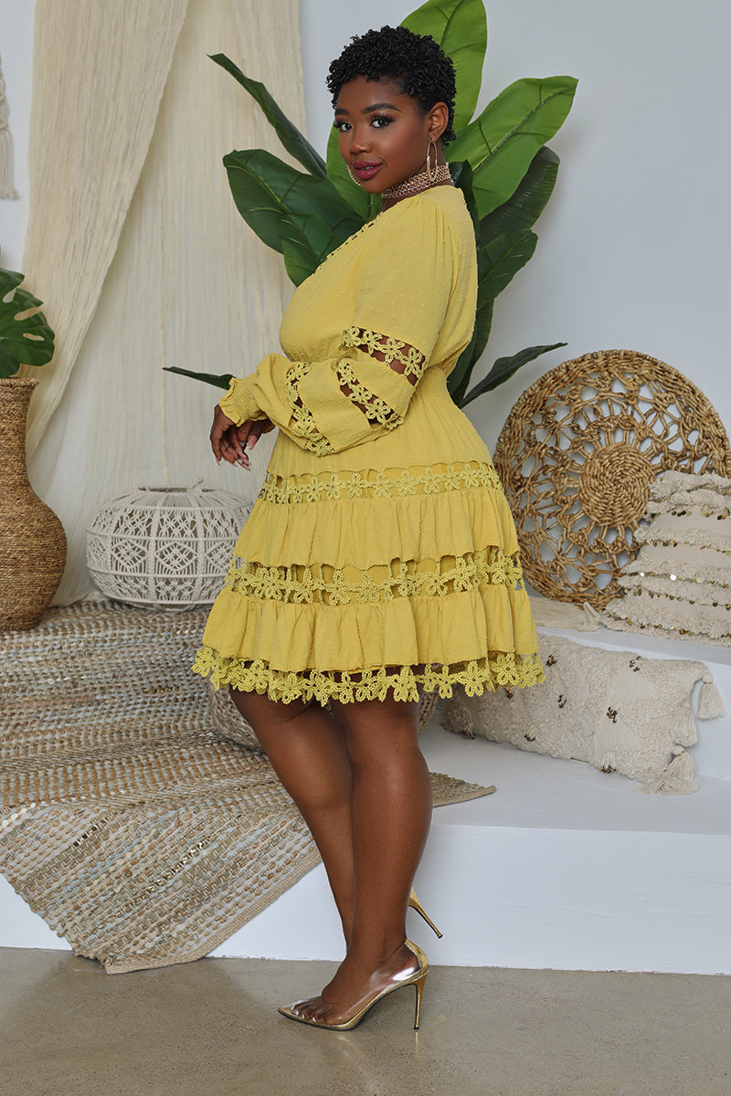 Curvy Embroidered Cut Out Peasant Dress (Mustard)