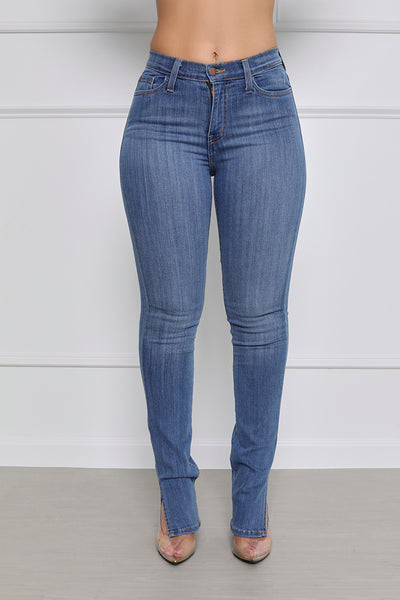 Let's Split Mid-Rise Split Hem Straight Leg Jeans - Medium Wash