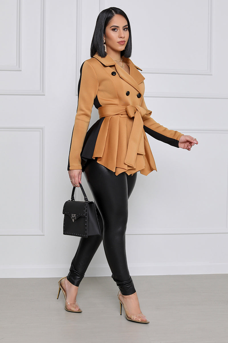 At The Office Peplum Double Breasted Blazer With Belt  (Tan/Black)
