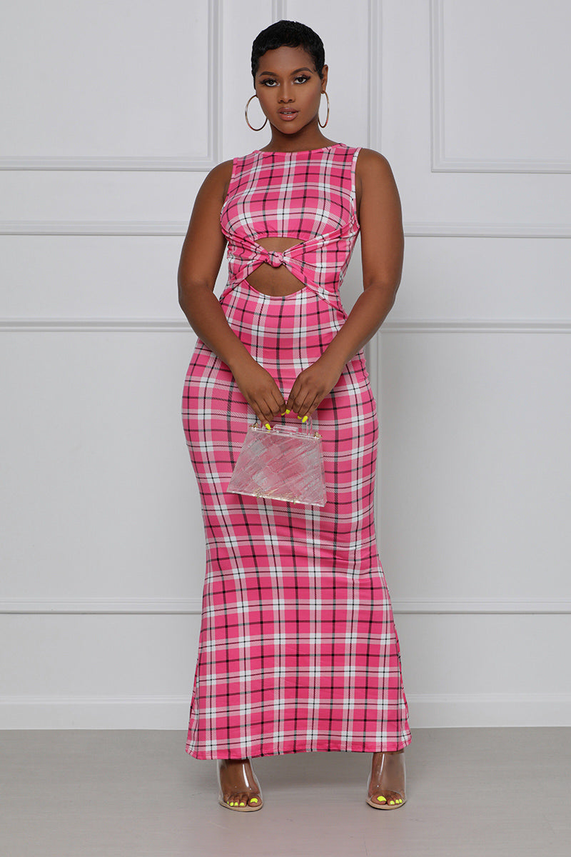 One More Time Knotted Maxi Dress (Pink Multi)