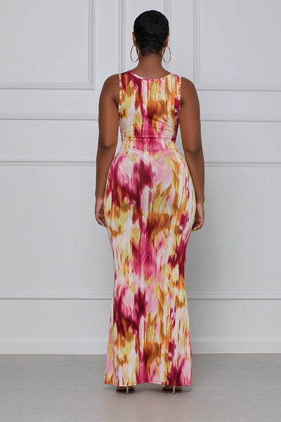 To Tie Dye For Knotted Maxi Dress (Pink Multi)