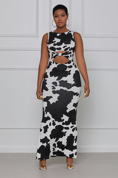 Makin' Money Mooooves Knotted Maxi Dress