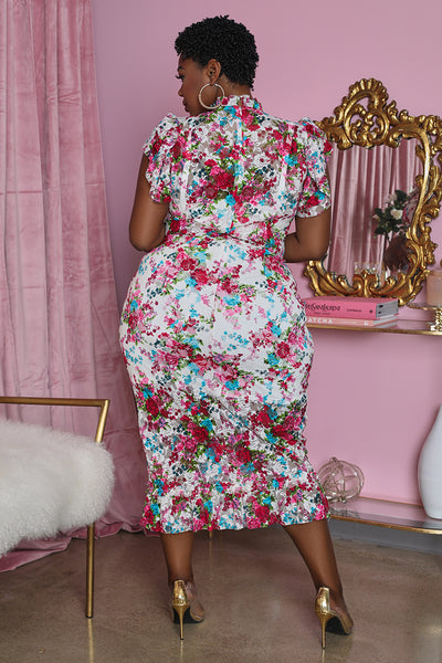 Curvy Floral Lace Bodycon Midi Dress