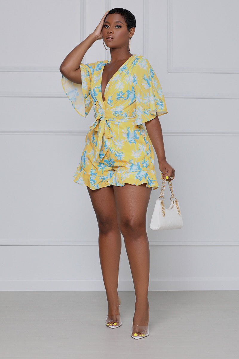 In A Daze Floral Romper (Yellow & Blue)