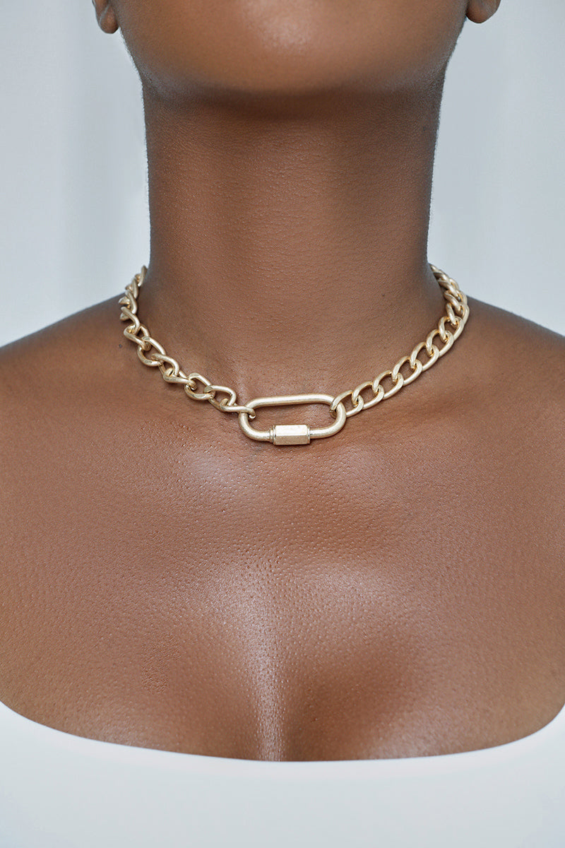 Gold Lock Choker Necklace