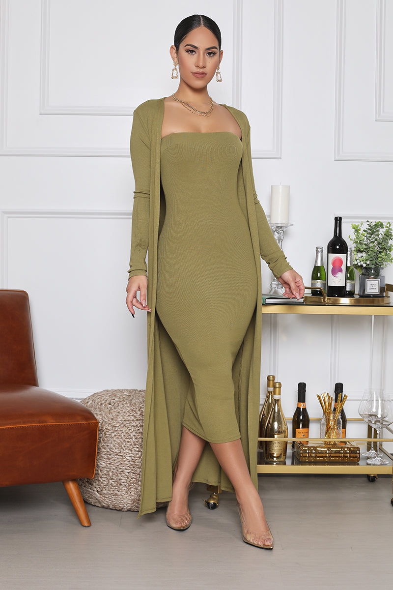 Ribbed Midi Dress With Cardigan Set (Olive)