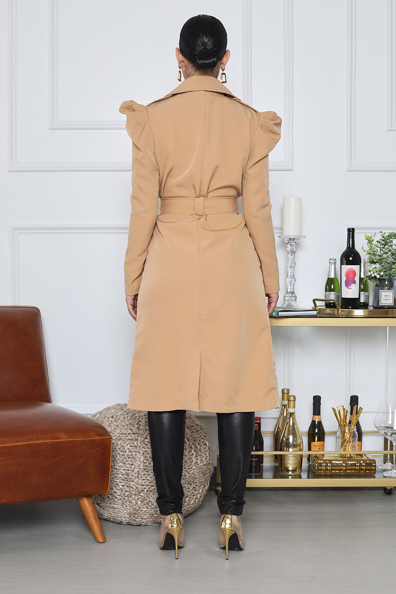 Puff Sleeve Trench Coat (Tan)