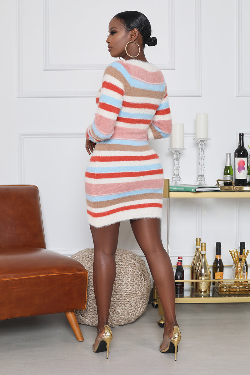 Stripe Fuzzy Mini Dress