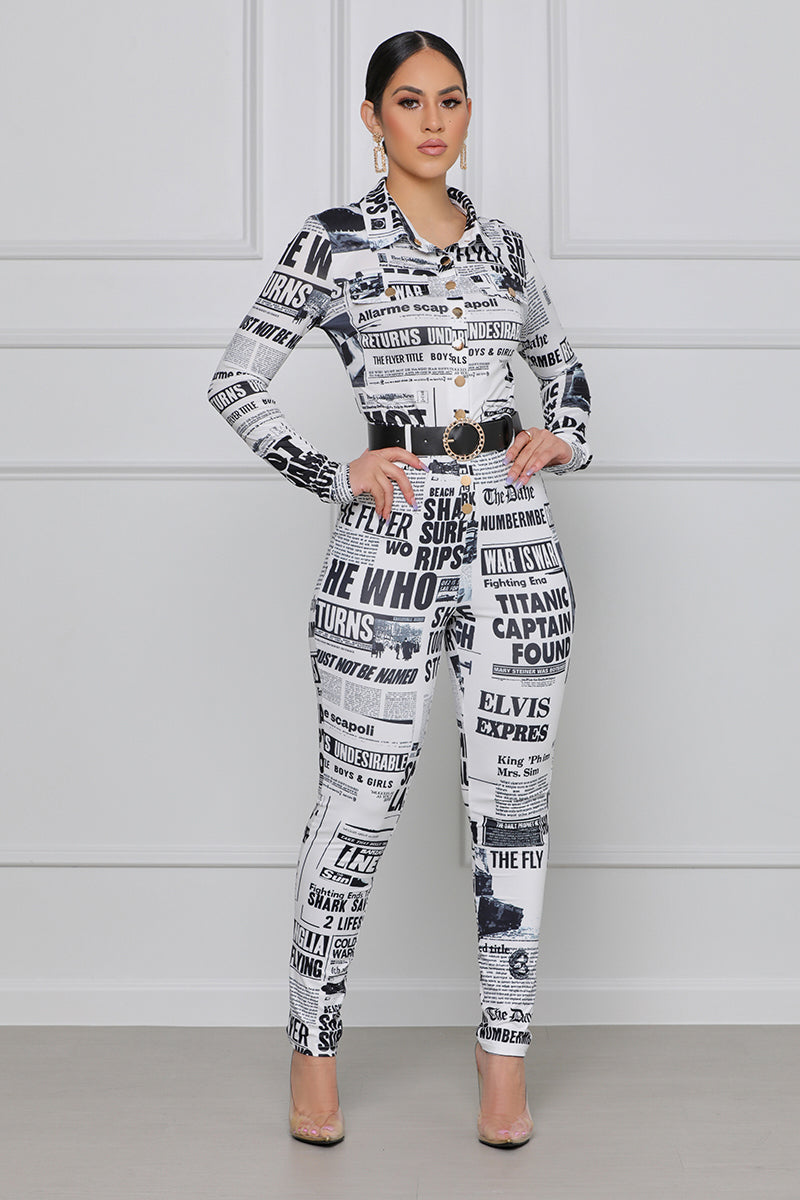 Read All About It Jumpsuit (Black & White)