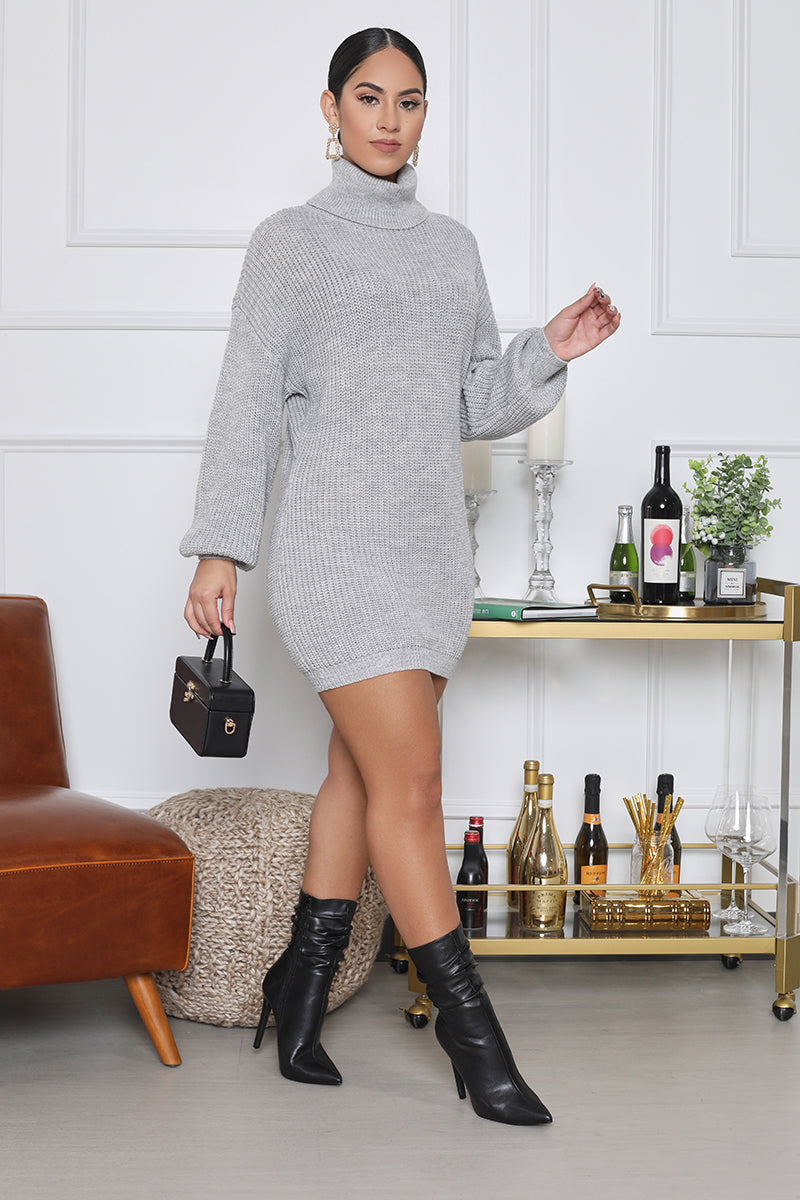Oversize Turtleneck Sweater Dress (Grey)
