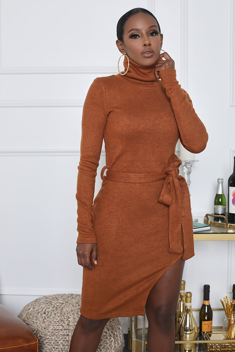 Turtleneck High Slit Sweater Dress (Brown)