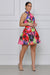 Kaleidoscope Belted Halter Dress