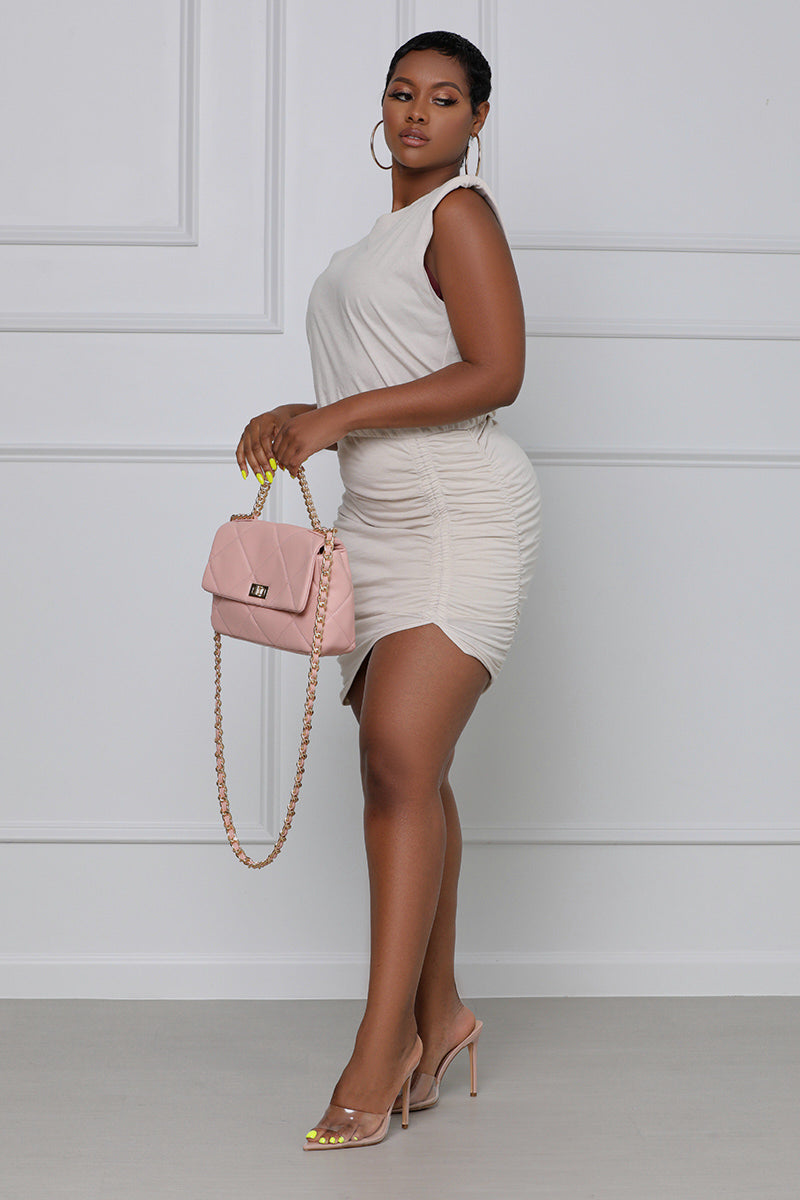 Come Correct Padded Ruched Mini Dress (Nude)