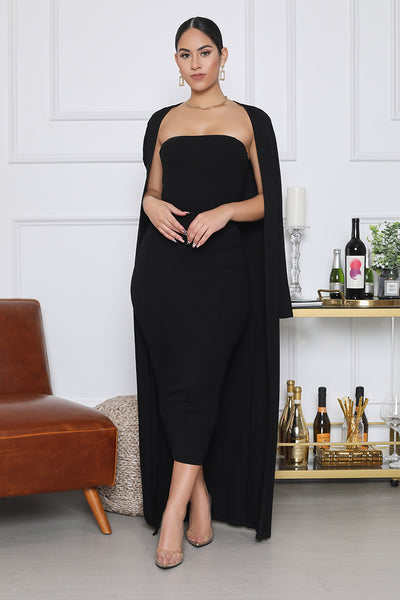 Ribbed Midi Dress With Cardigan Set (Black)