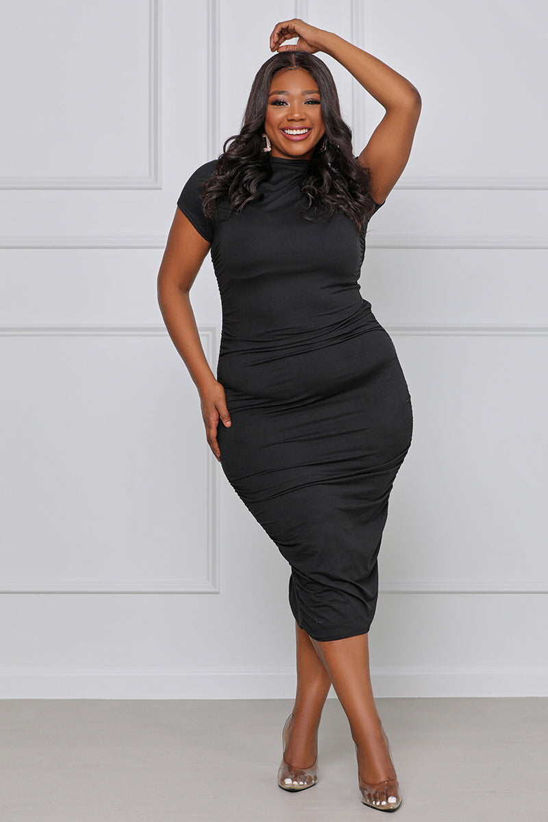 She's In Charge Ruched Bodycon Midi Dress