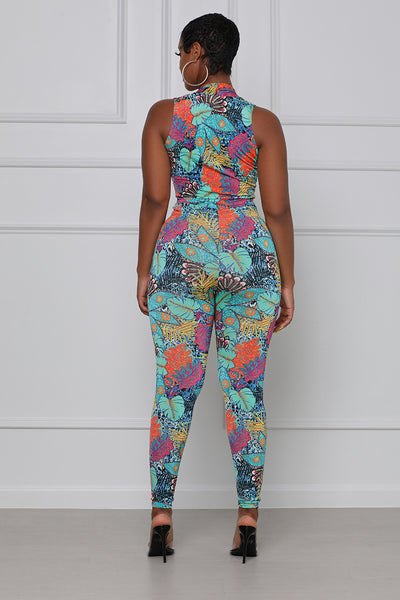 In the Wild Halter Jumpsuit (Green Multi)