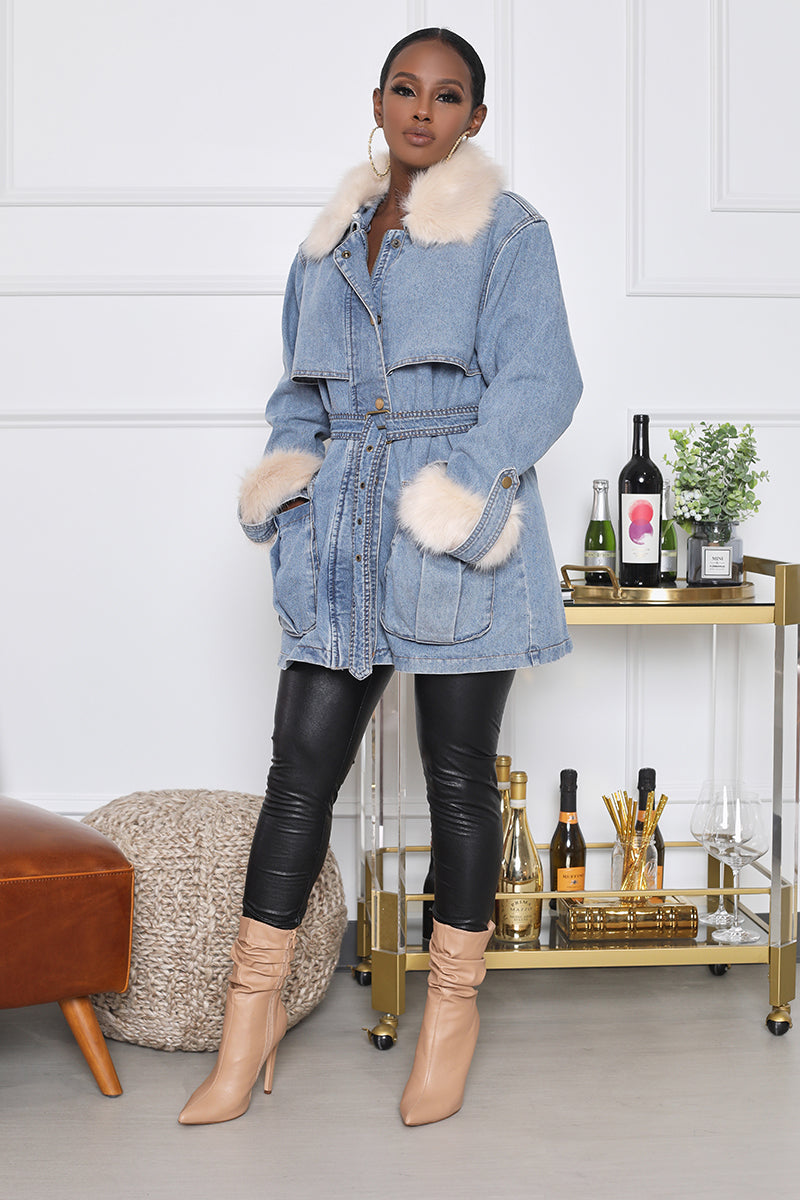 Mid-Length Denim Jacket With Faux Fur