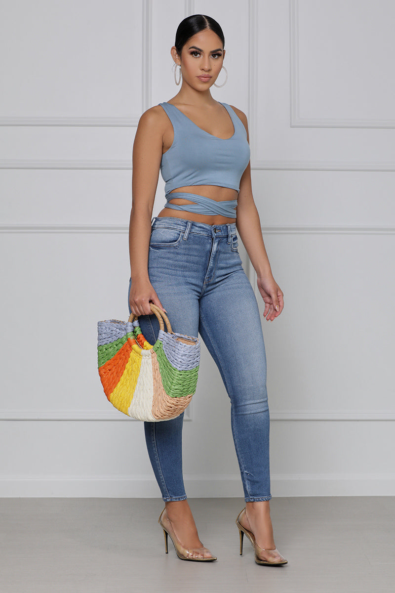 Wrapped Around You Crop Top (Blue)