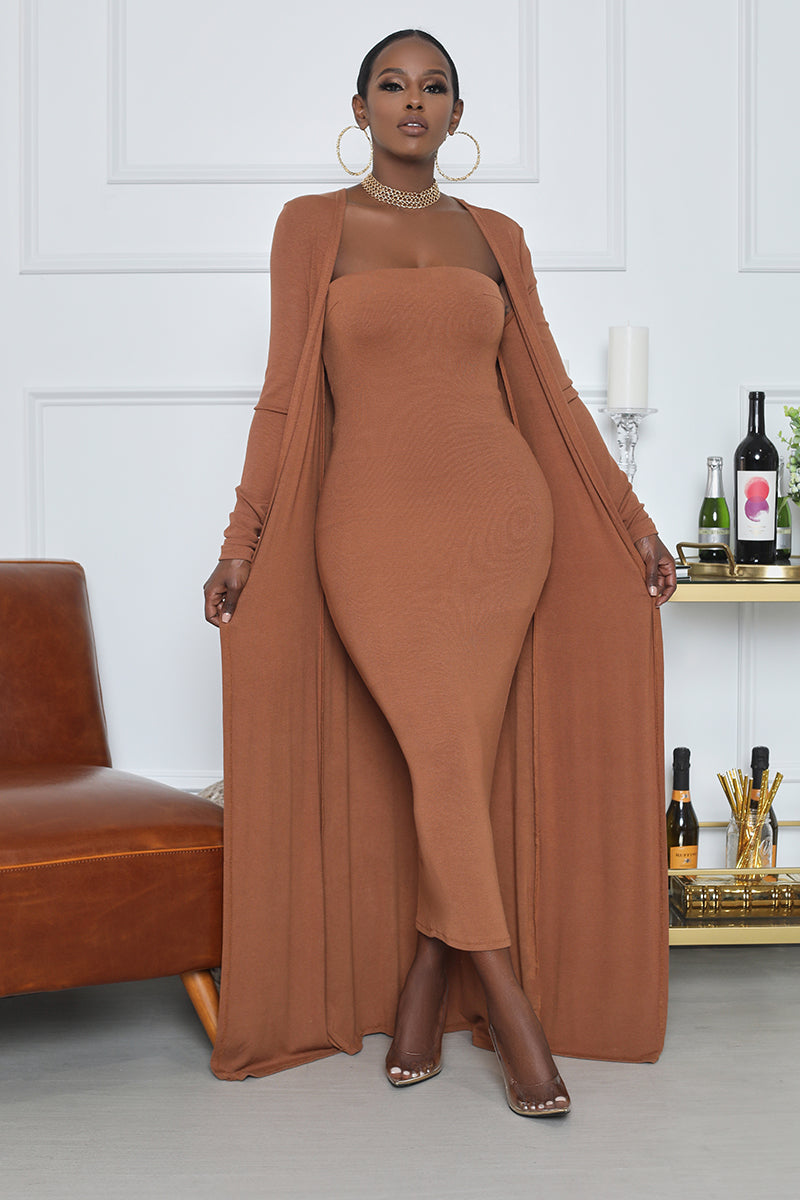 Ribbed Midi Dress With Cardigan Set (Brown)