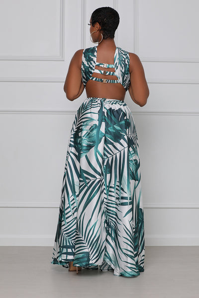 Gone With The Wind Maxi Dress (Green Multi)- FINAL SALE