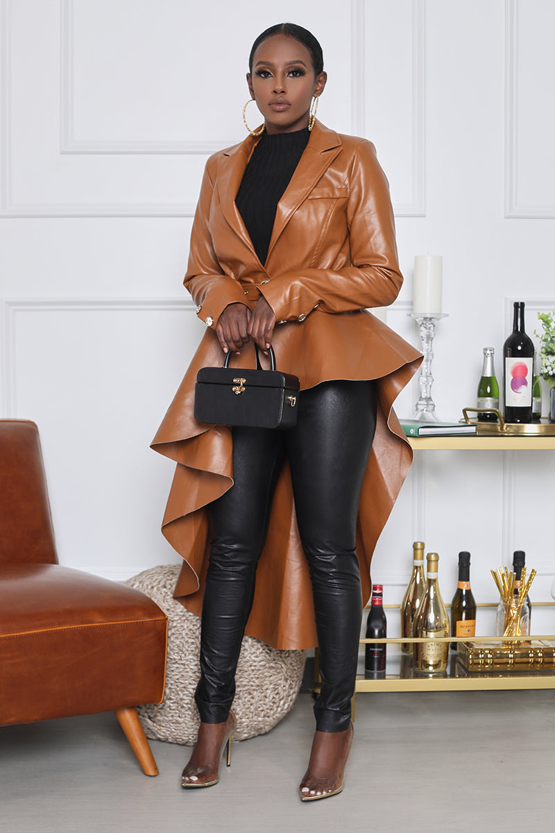 Asymmetrical Faux Leather Jacket