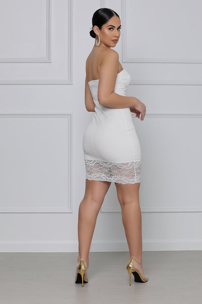 On Your Mind Strapless Lace Mini Dress (White)