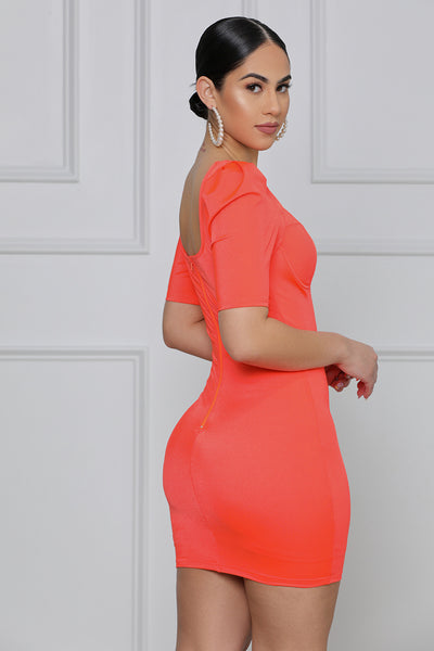 Electric Night Bodycon Mini Dress (Orange)