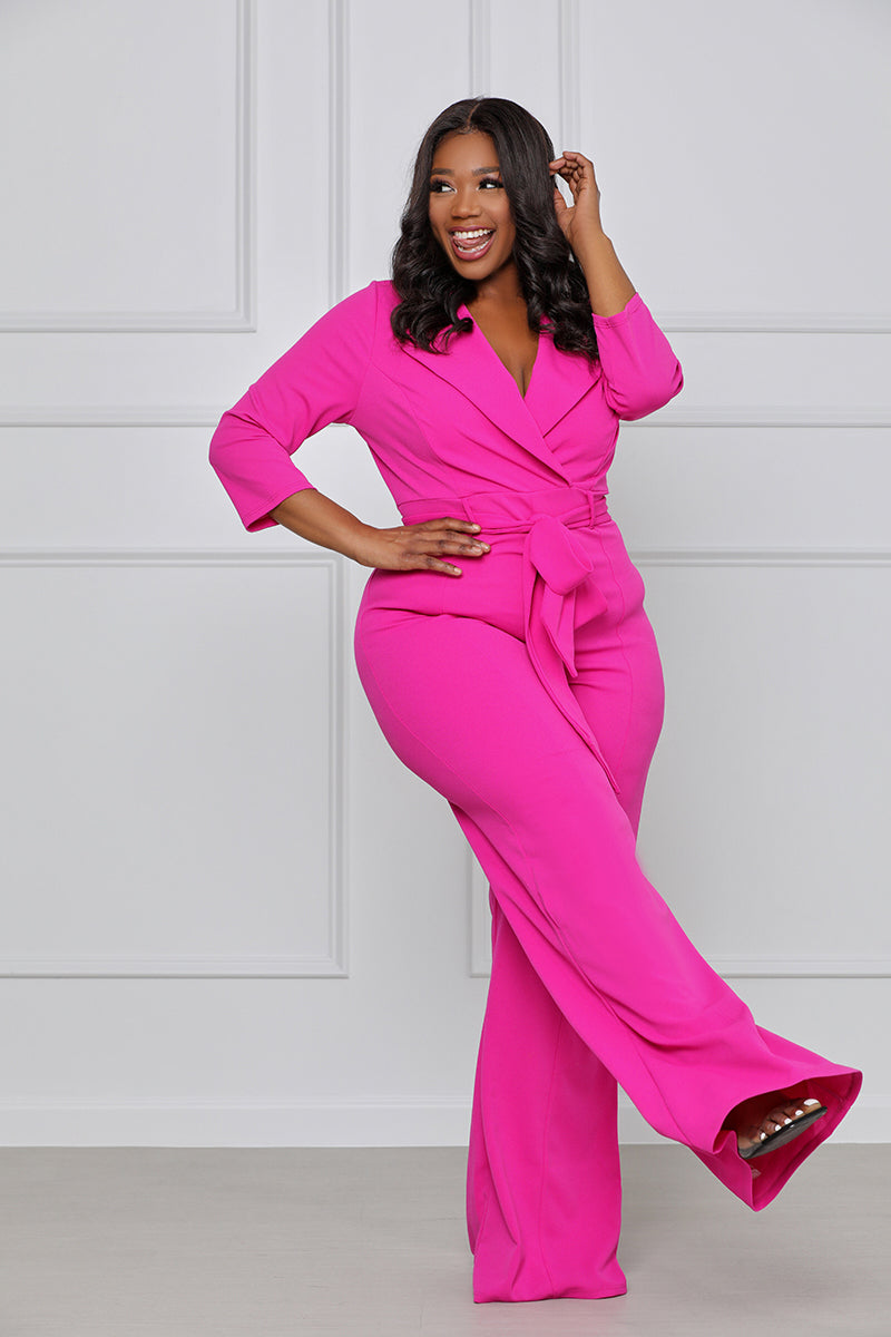 Sexy Something Tie Front Jumpsuit (fuchsia)