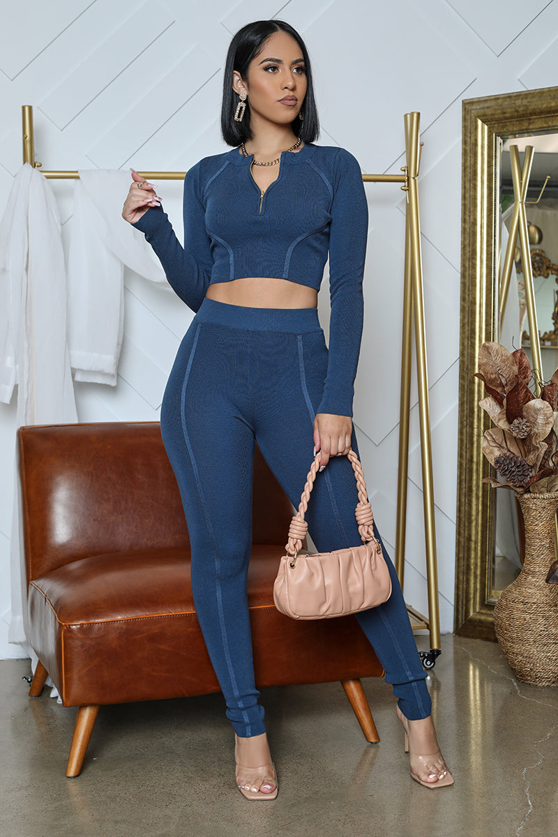 Long Sleeve Crop Legging Set (Blue)