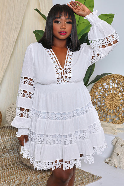 Curvy V-Neck Embroidered Babydoll Dress (White)- FINAL SALE
