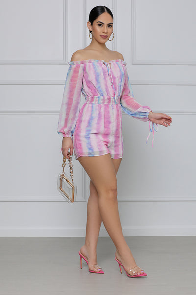 Better In Color Off The Shoulder Watercolor Romper (Multi)
