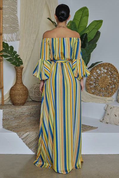 Off The Shoulder Striped Puff Sleeve Maxi Dress