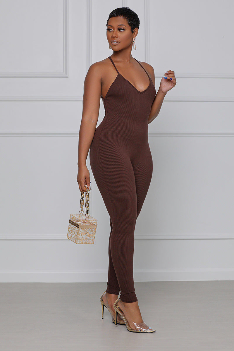 Crossing The Line Ribbed Spaghetti Strap Jumpsuit  (Chocolate)