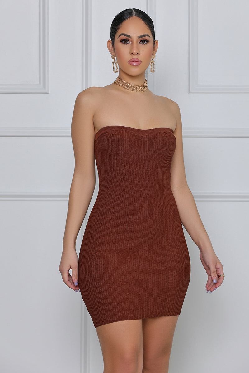 All Night Affair Ribbed Mini Dress