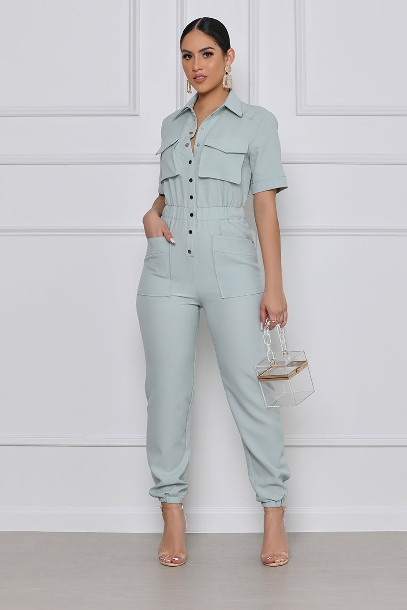 She's Invested Utility Jumpsuit (Mint)
