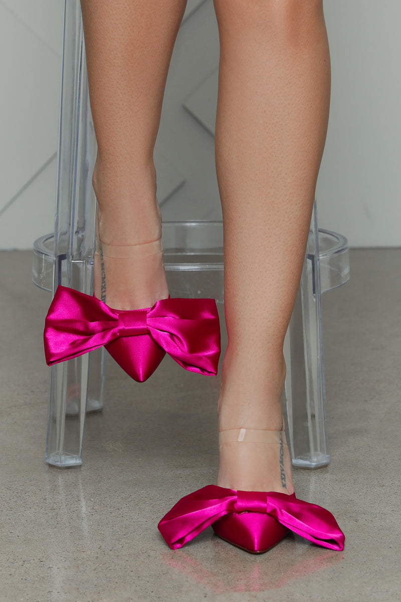 Satin Bow Tie Heel (Fuchsia)- PREORDER ONLY SHIPS OCT. 29TH