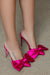 Satin Bow Tie Heel (Fuchsia)- FINAL SALE